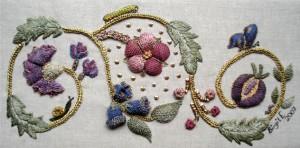 embroidered scroll by Birgit Edmayr