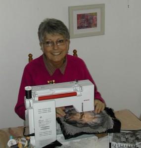 Jan Evans at her machine